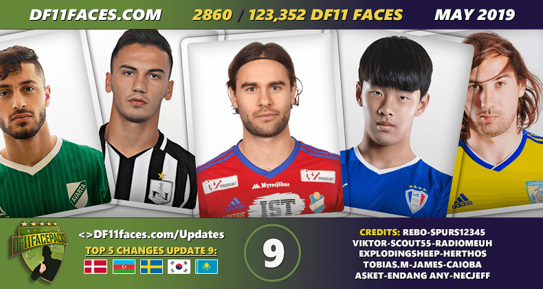 DF11 Faces Update 9/May - Football Manager 2019